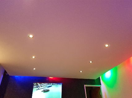 Suspended ceiling finished with coloured