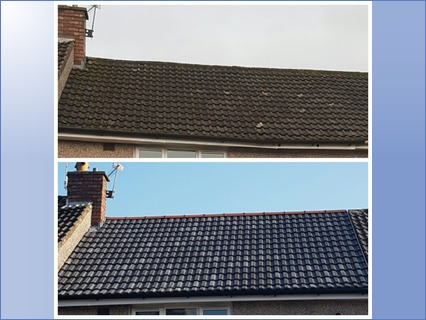 Before and after of recent roof. Front a