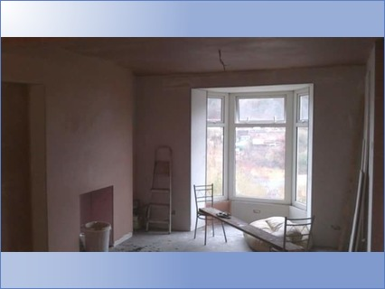 Plasterboarding and plastering living ro