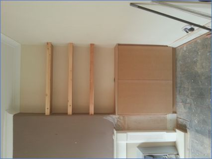 MDF cupboard to alcove with floating she