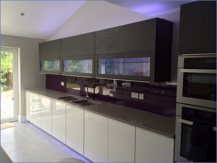 plain aubergine glass splashback fitted