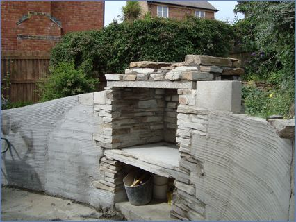 stone fire and retaining slope wall
