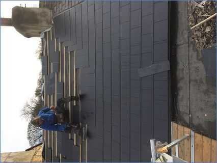 New fibre cement slate roof