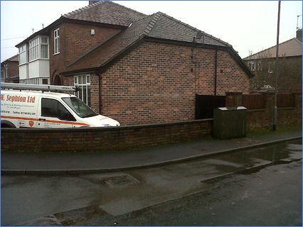Single storey hipped roof extension.