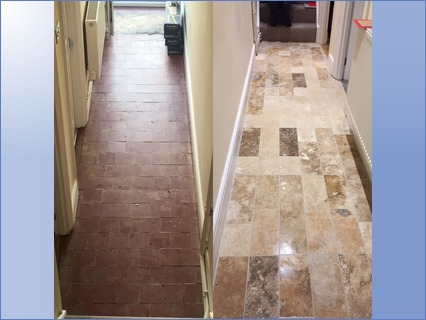 Travertine hallway floor