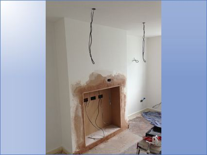 removal of old fire place with cables in