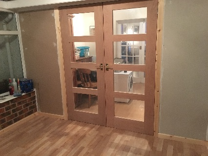 Stud work, flooring and French doors