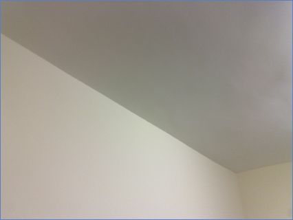 Ceiling tacked, Plasteraed and painted