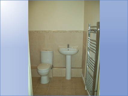 new toilet&basin, tiled walls and floor