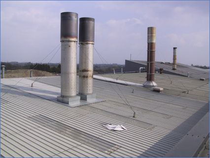 Factory Roof Chimneys Sealed With Stainl