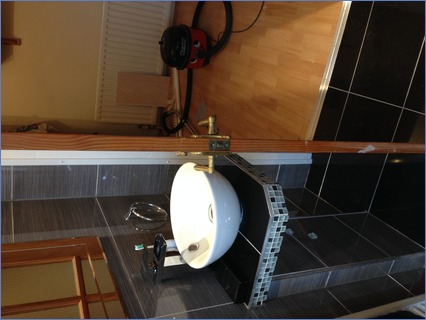 Hand built stand with sit on bowl/waterf