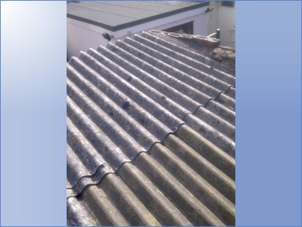 Asbestos roof on garage