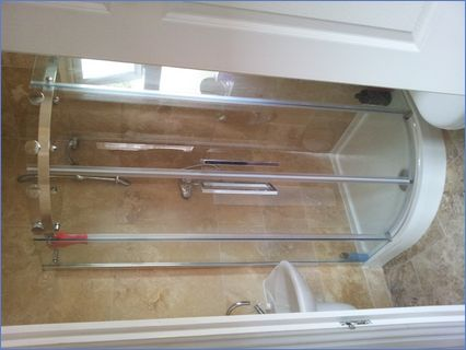 quadrant, mixer shower, tiles, wall hung