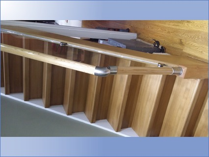 new staircase fitted with glass balustra