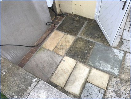 Relay damaged patio area