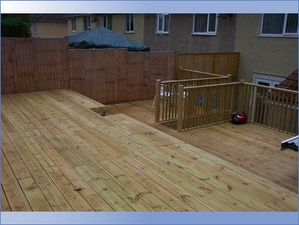 Decking in raised garden