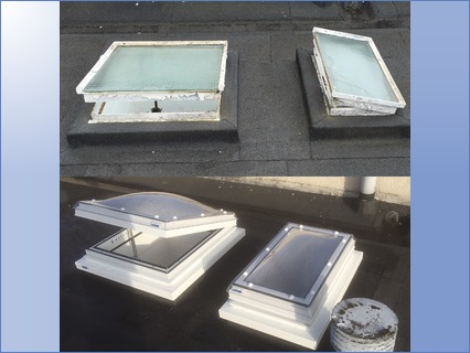 Skylights before and after.