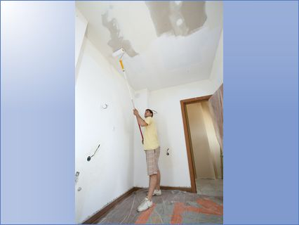 Hales Decorators - painting a ceiling