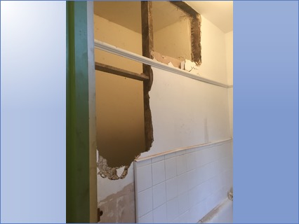 Taken down walls and plaster