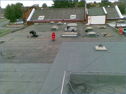 800 sq mtr flat roof in norton stourbrid