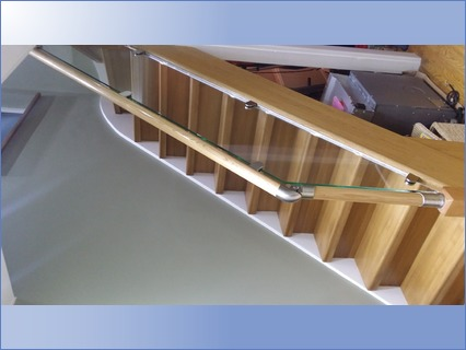 staircase refurbishment with glass balus