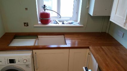 New kitchen with wood countertop