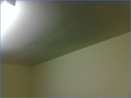 Ceiling tacked Plasteraed and painted