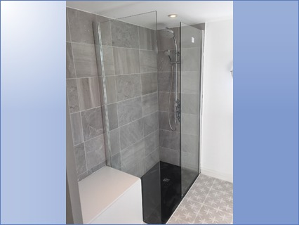 Old bath removed new shower tray, screen