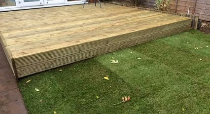 Decking and turfing in Leyland.