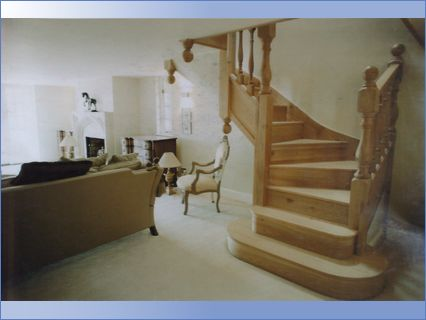 Secondary elm staircase to master Bedroo