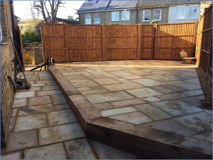 A raised patio area we designed and buil