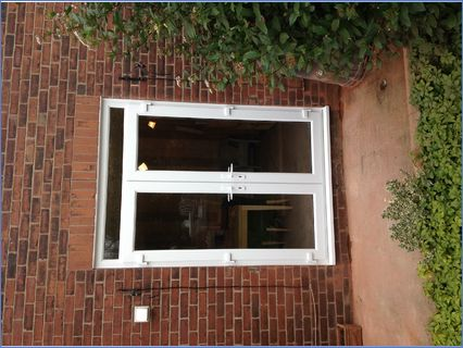 New dining room French doors after brick