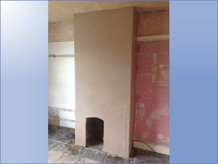 Chimney after plastering is finished