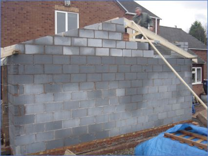 block gable to new extension