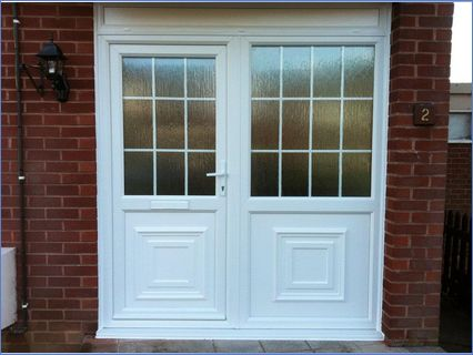 white pvc front door and sidscreen