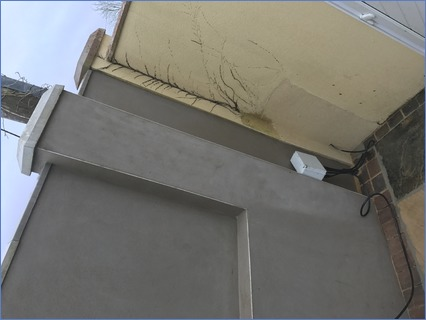 Traditional stucco finish on garden wall