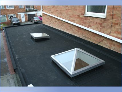 Rubber Roof with 2 Skylights on Garage C