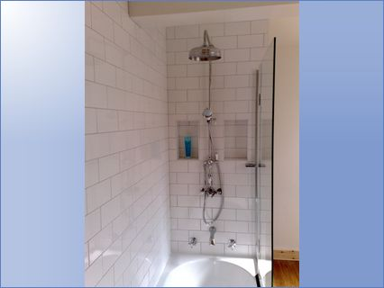traditional style showeroverbath with ti