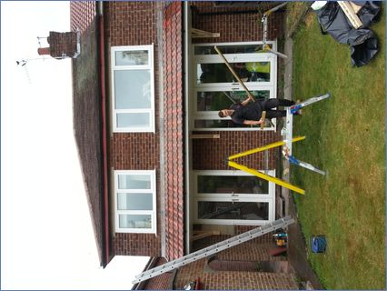 New canopy to rear of house built over n